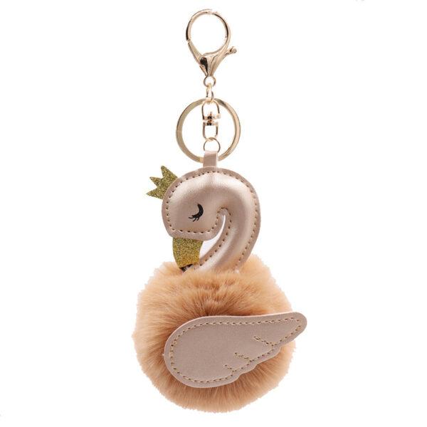 shineboutique, porte-clés pompon Cygne, porte-clé pompon fourrure, porte-clés boule de poil