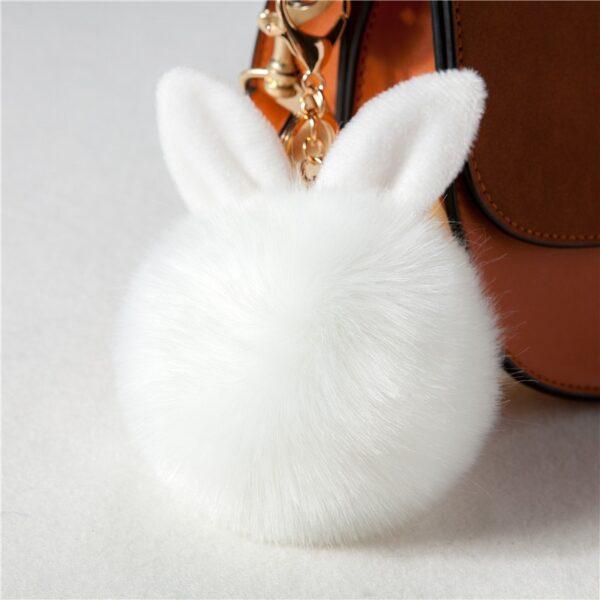 shineboutique, porte-clés pompon lapin, porte-clé pompon fourrure, porte-clés boule de poil