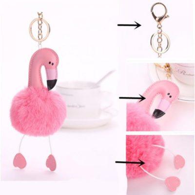 shineboutique, porte-clés pompon flamant rose, porte-clé pompon fourrure, porte-clés boule de poil