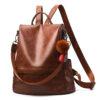 sac à dos antivol vintage en cuir pour femmes