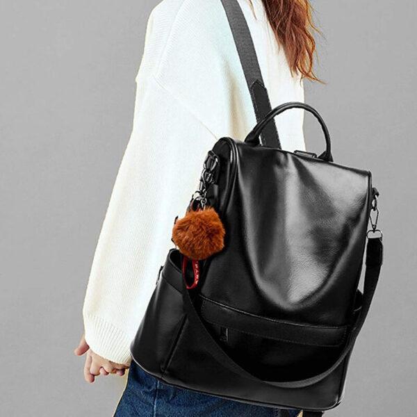 sac simili cuir antivol avec fermeture cachée de couleur noire