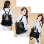 sac bandoulière antivol avec fermeture cachée de couleur noire