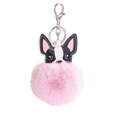 shine boutique, porte-clés pompon Chien, porte-clé pompon fourrure, porte-clés boule de poil