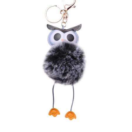 shineboutique, porte-clés pompon chouette, porte-clé pompon fourrure, porte-clés boule de poil
