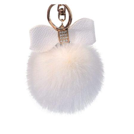 porte-clés pompon nœud blanc, shineboutique