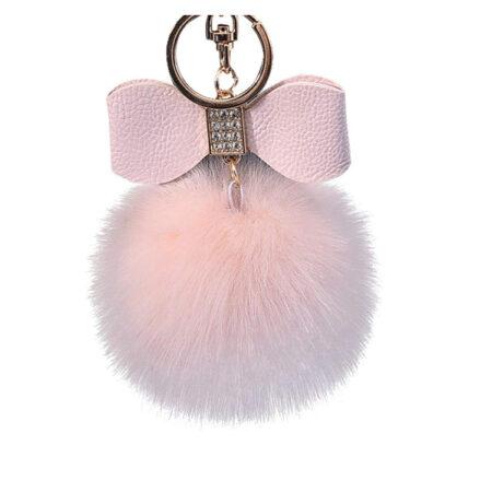 porte-clé pompon nœud rose, shineboutique