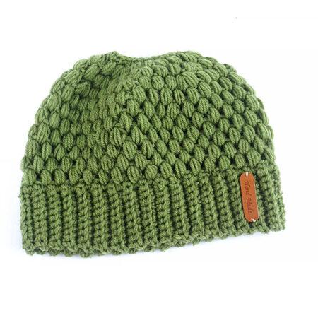 Shine boutique, bonnet queue de cheval vert nevada, bonnet trou, bonnet en tricot et crochet, bonnet hiver