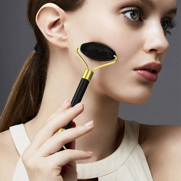 shineboutique, coffret massage facial en obsidienne noire, rouleau de jade, rouleau de massage visage et corps, rouleau de cristal, soin visage