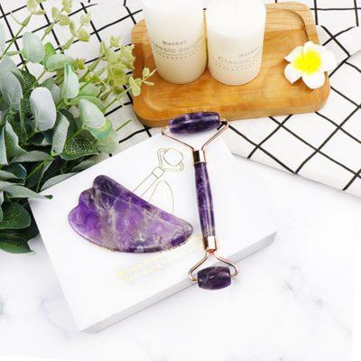shine boutique, coffret massage facial améthyste, rouleau de jade, rouleau de massage visage et corps, rouleau de cristal, soin visage