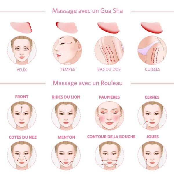 shineboutique, coffret massage facial quartz rose, rouleau de jade, rouleau de massage visage et corps, rouleau de cristal, soin visage