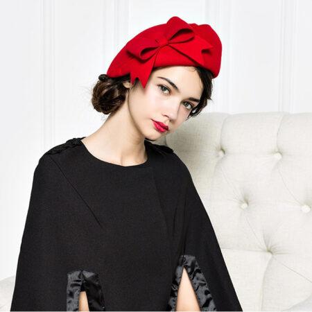 shine boutique, béret nœud, béret vintage laine, béret rétro