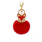 shineboutique, porte-clés pompon renard, accessoire, porte-clés boule de poils, boule de fourrure