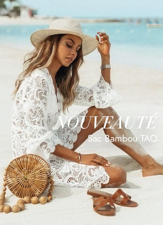 Sac Bambou Rond Bandoulière Tao – Naturel