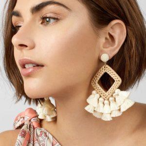 Shineboutique, boucles d'oreilles paille et pampilles Aya, boucles d'oreille naturelles