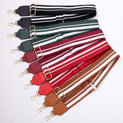 shine boutique, bandoulière ajustable rayée en coton pour sac à main