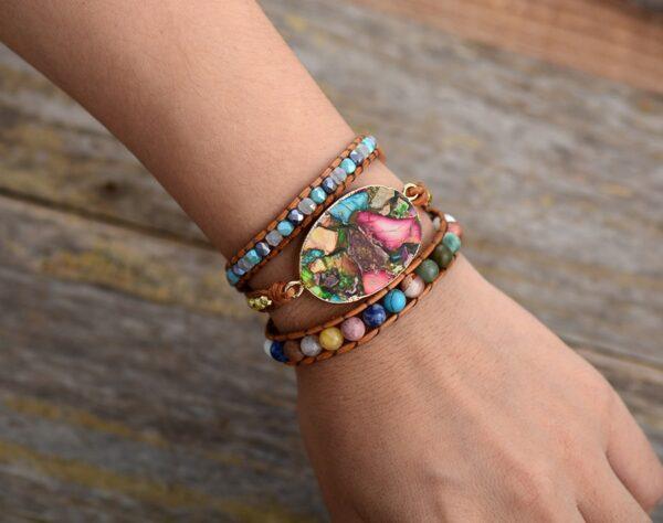 shineboutique, Bracelet Manchette Jaspe, bracelet pierre naturelle, bracelet bohème, bracelet shambala, bracelet perles