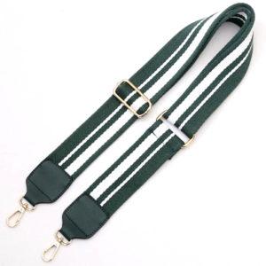 shine boutique, bandoulière ajustable rayée verte en coton pour sac à main