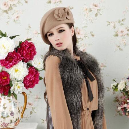 shine boutique, béret fleur, béret vintage laine, béret rétro