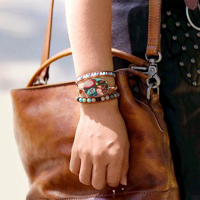 bracelet en pierres naturel de style boheme