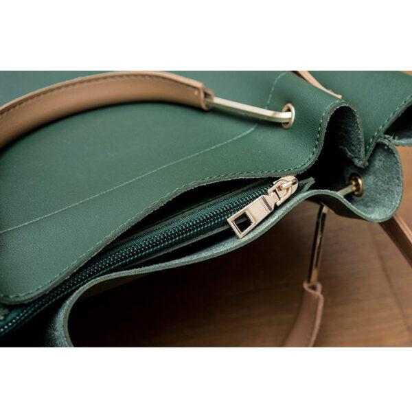 shine boutique, sac cabas cuir adriana vert, sac bandoulière femme