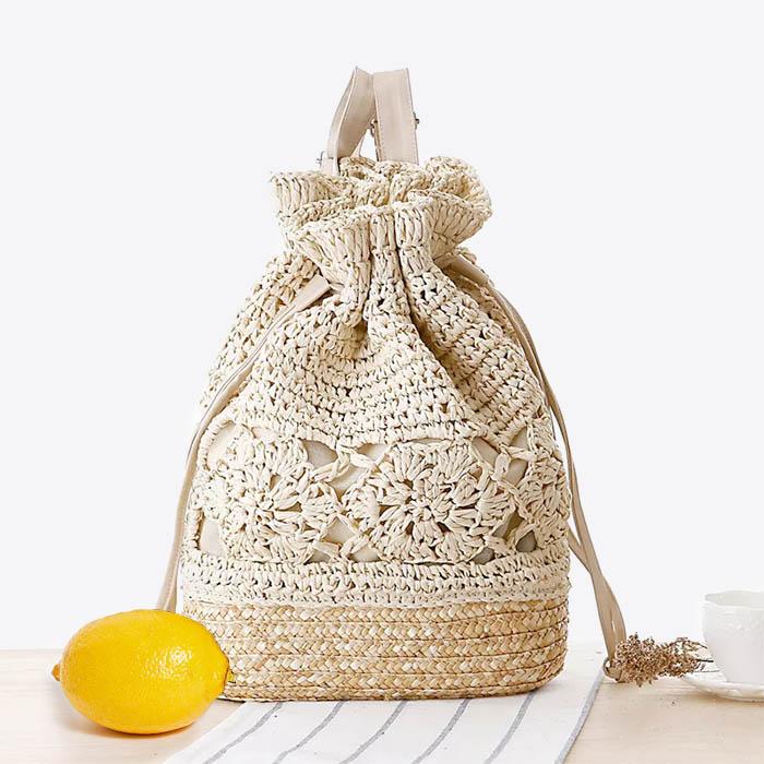 sac à dos en crochet et tissé paille pour plage
