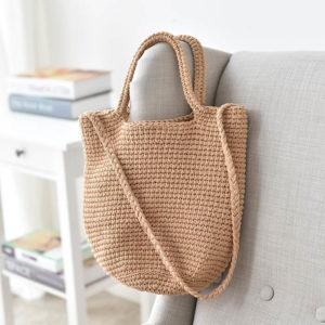 sac cabas en laine tissé et bandoulière
