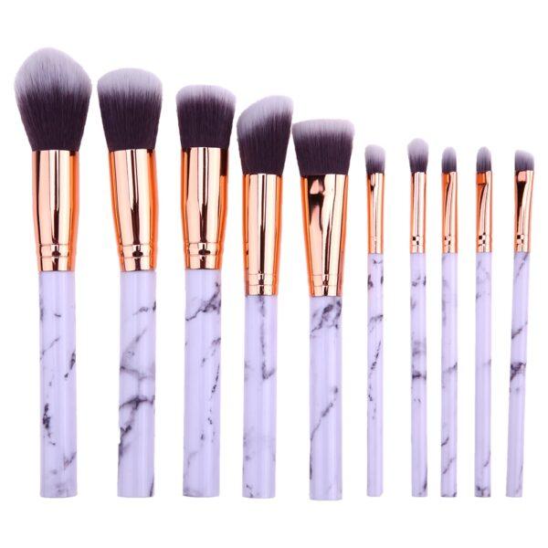 set de 10 pinceaux maquillage marbre – gris