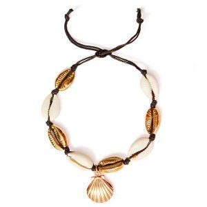 shineboutique, bracelet de cheville coquillage noir Ariela, chevillère, bijou de cheville, accessoires