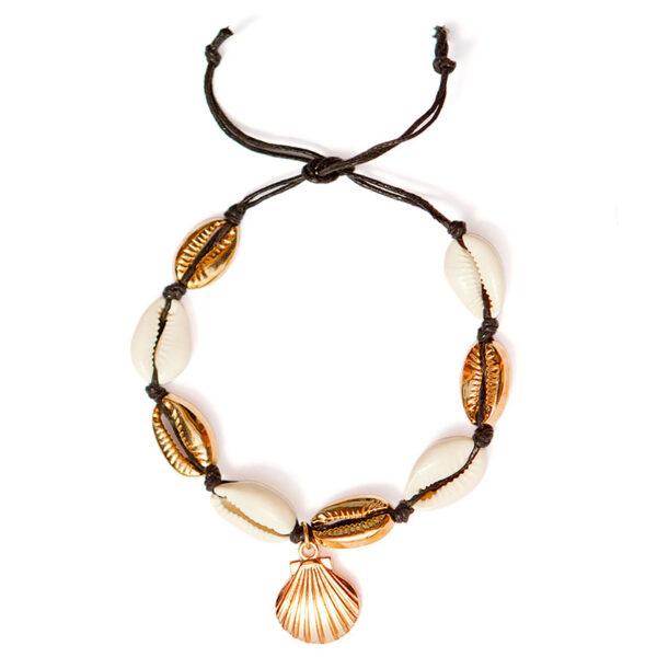 bracelet de cheville coquillage noir ariela