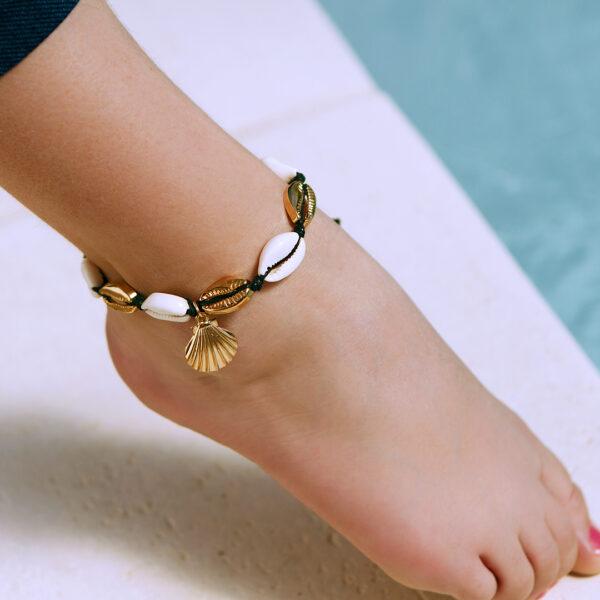 bracelet de cheville coquillages noir ariela 2
