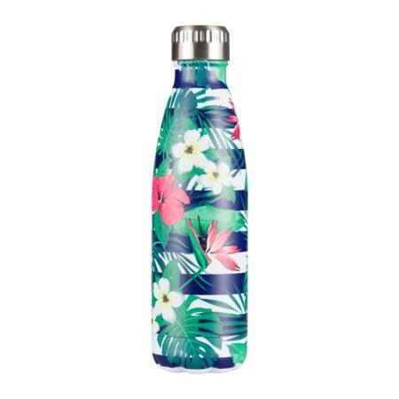 shineboutique, bouteille isotherme fleurs tropicales, gourde isotherme, bouteille inox