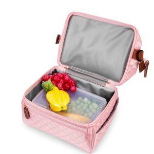 shineboutique, sac repas rose XXL, lunch bag rose, sac isotherme repas rose brillant matelassé, grand sac repas isotherme, glaciaire