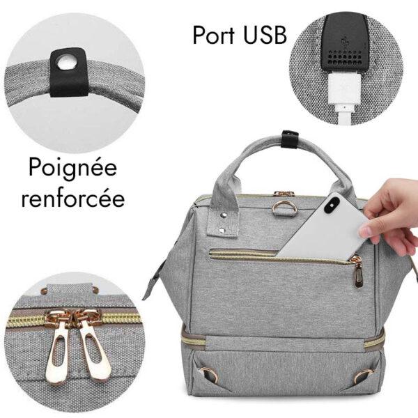 Sac à Dos Isotherme Gris - Port USB