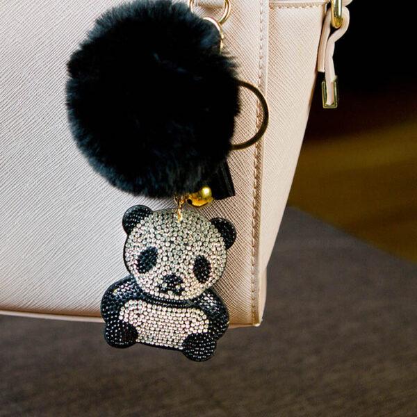 shineboutique, porte-clé panda strass et pompon