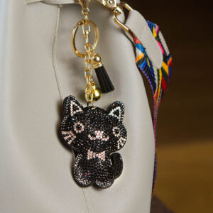 shineboutique, porte-clé chat strass noir