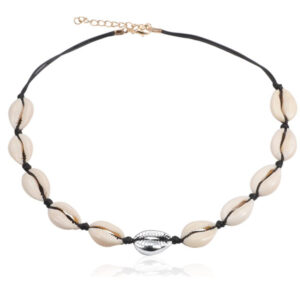 shineboutique, collier coquillages ras du cou maui noir