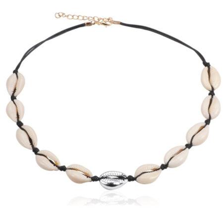 shineboutique, collier coquillages ras du cou maui noir