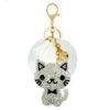 shineboutique, porte-clé chat brillant pompon et strass
