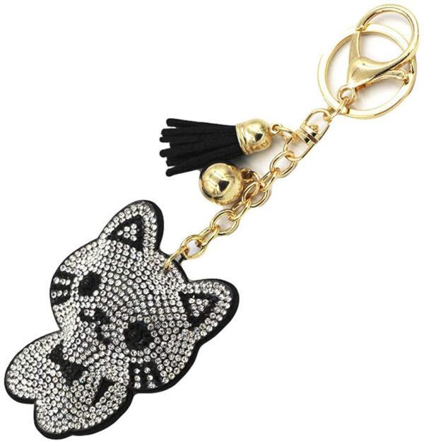 porte-clés chat strass argenté