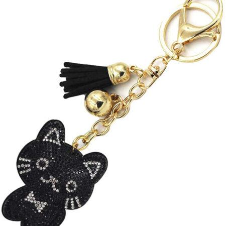 shineboutique, porte-clé chat strass noir