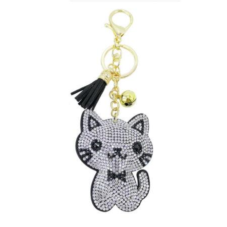shineboutique, porte-clés chat strass argenté