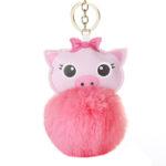porte-clé cochon pompon fushia