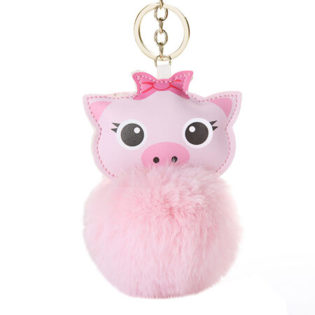 shineboutique, porte clé cochon pompon rose