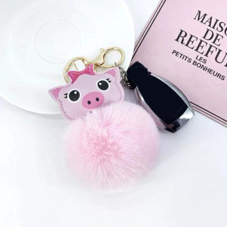 shineboutique, porte-clé cochon pompon rose