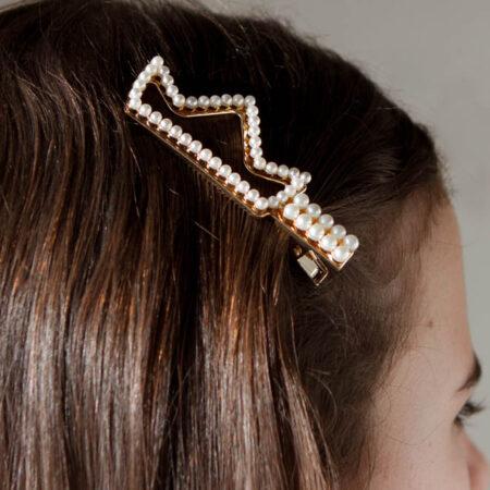 barrette perle couronne