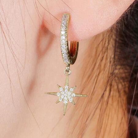boucles d'oreilles étoile, mini créole