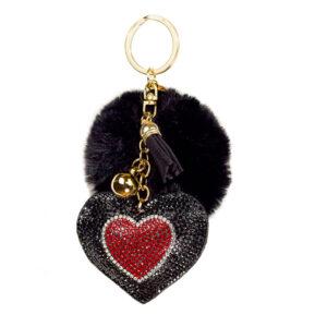 Brillant Coeur Porte-clés-Gris Tassel /& strass Brillant Bling Sac Charme