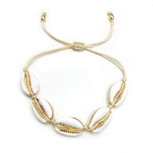 bracelet cauri doré, shineboutique