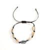 bracelet coquillage argent cordon noir, shineboutique