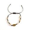 bracelet coquillage or cordon noir, shineboutique